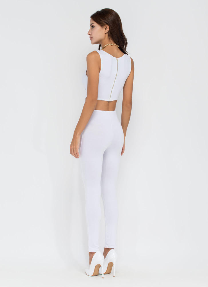 Plot Twist Plunging Cut-Out Jumpsuit WHITE