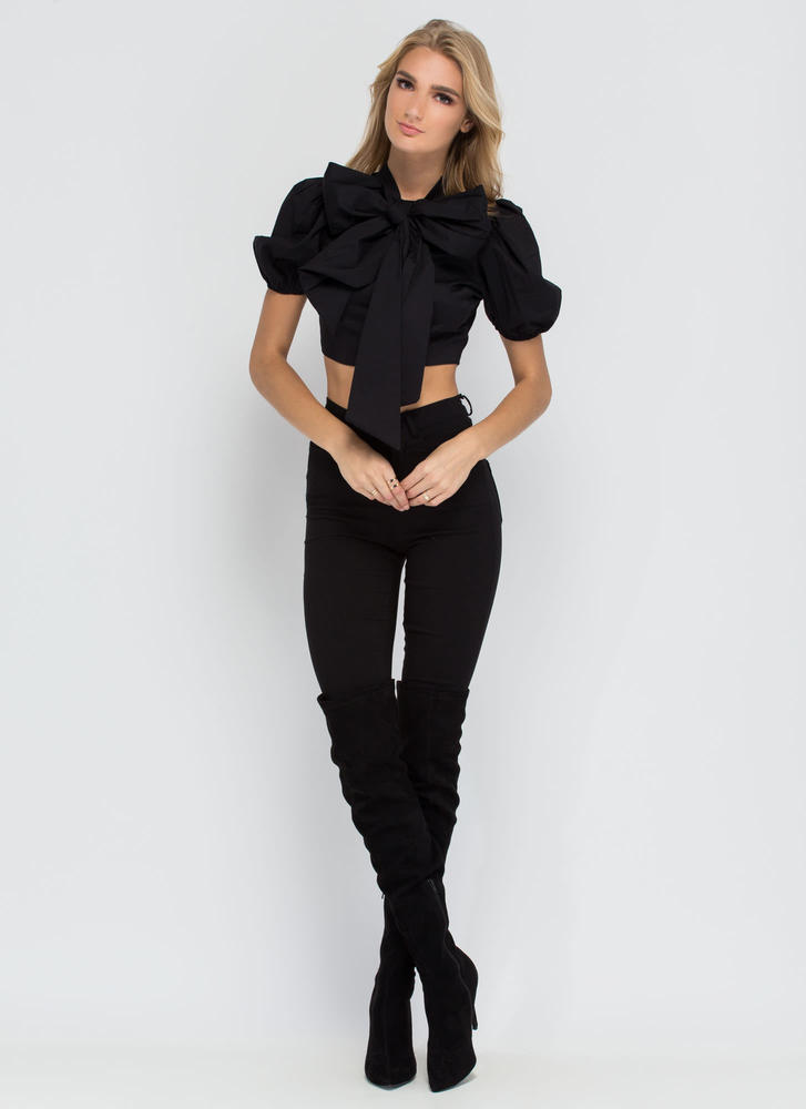 Bow My Goodness Puff Sleeve Crop Top BLACK
