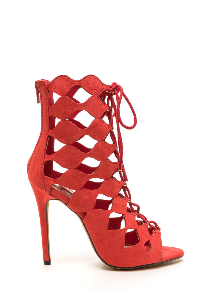 Chic Exposure Caged Cut-Out Heels CORAL (Final Sale)