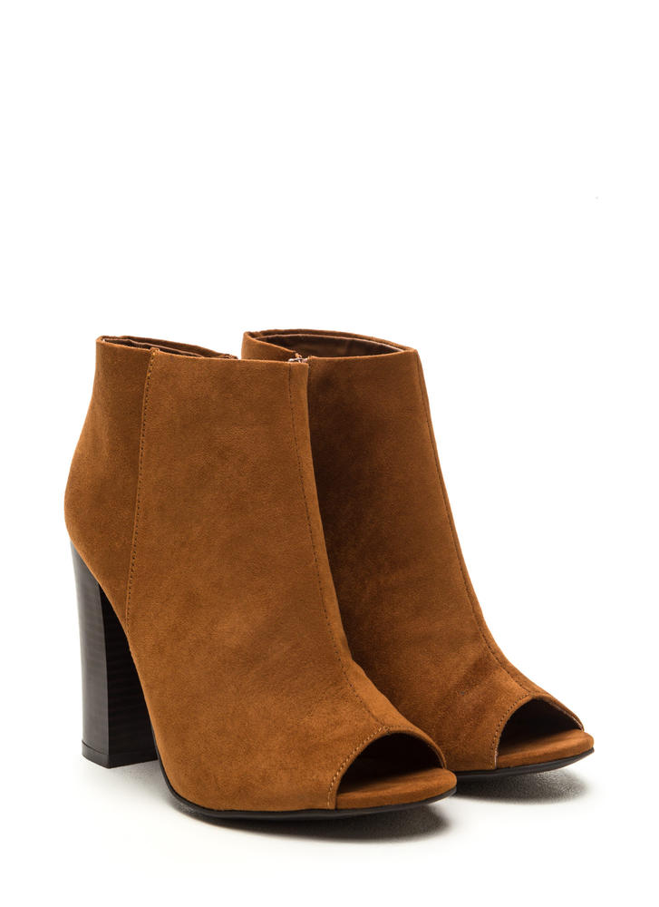 Not A Peep Faux Nubuck Booties CHESTNUT