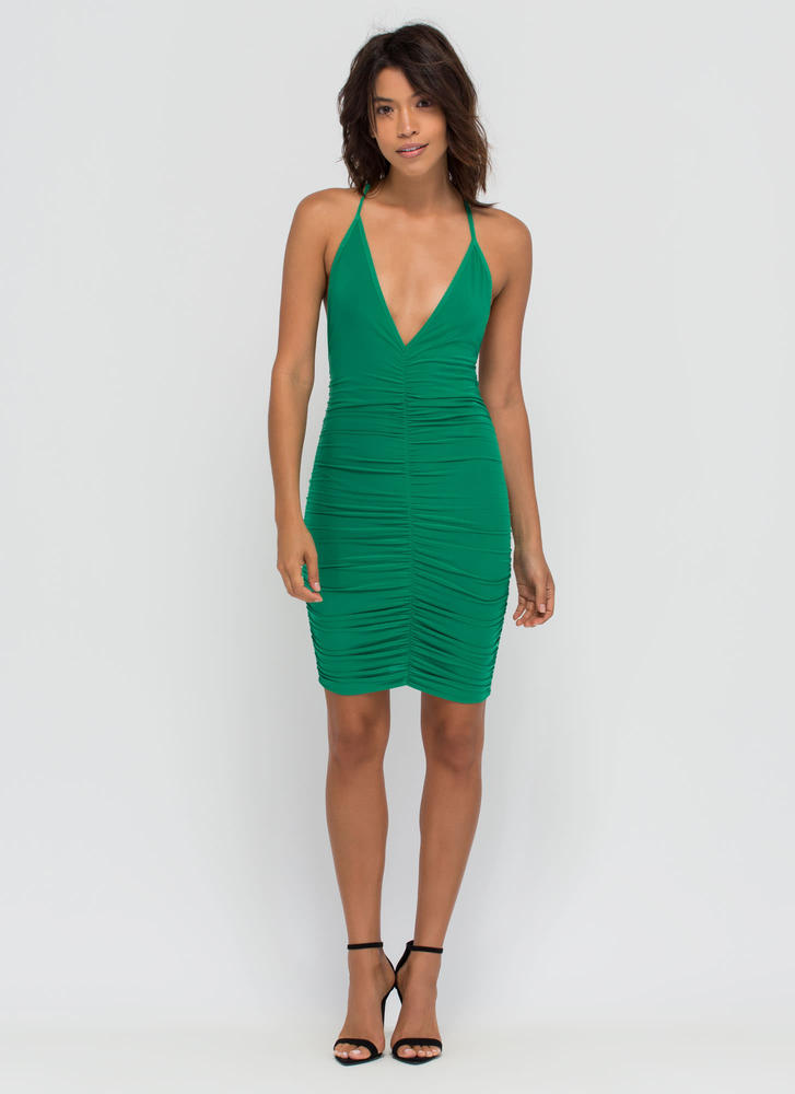 Party Lifestyle Ruched Minidress GREEN (Final Sale)
