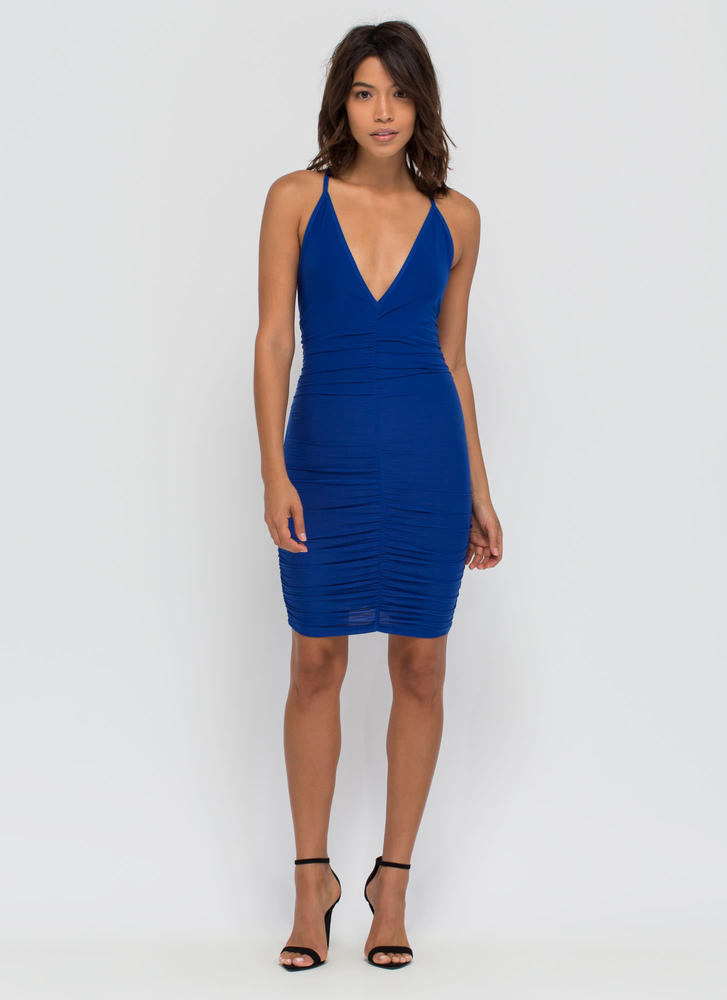 Party Lifestyle Ruched Minidress ROYAL