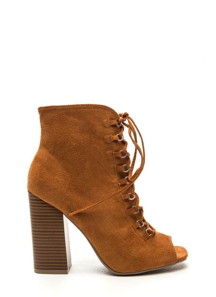 Change Of Pace Lace-Up Peep-Toe Booties WHISKY