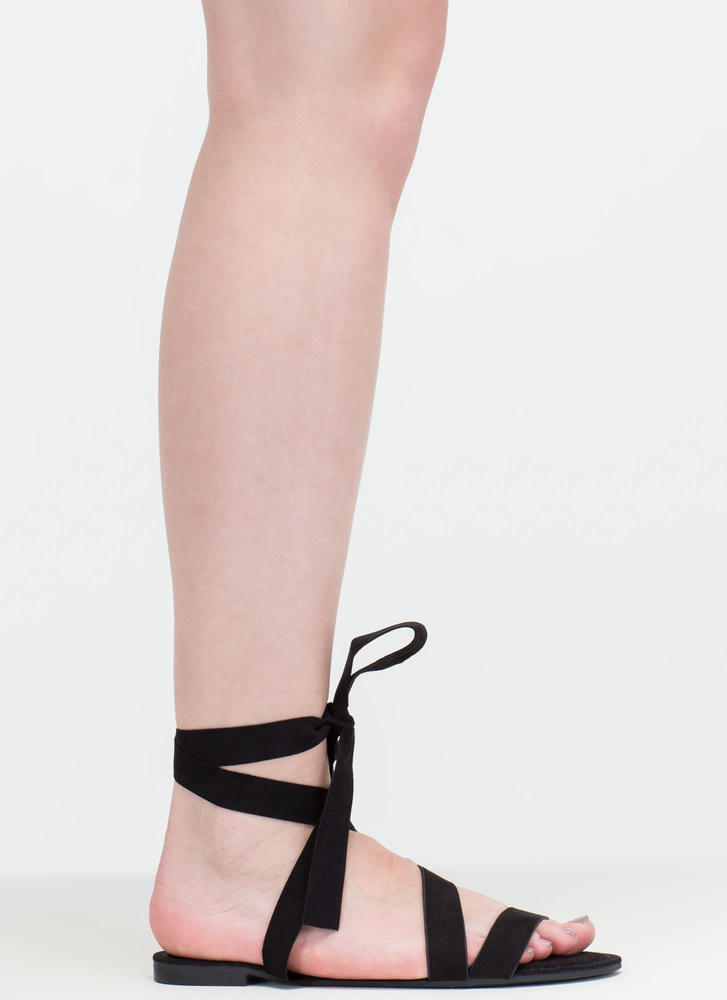 Ties Made Up Faux Suede Sandals BLACK