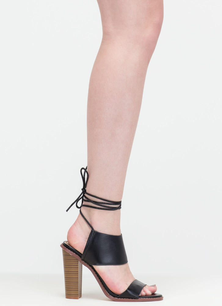 New Junction Faux Leather Chunky Heels BLACK (Final Sale)