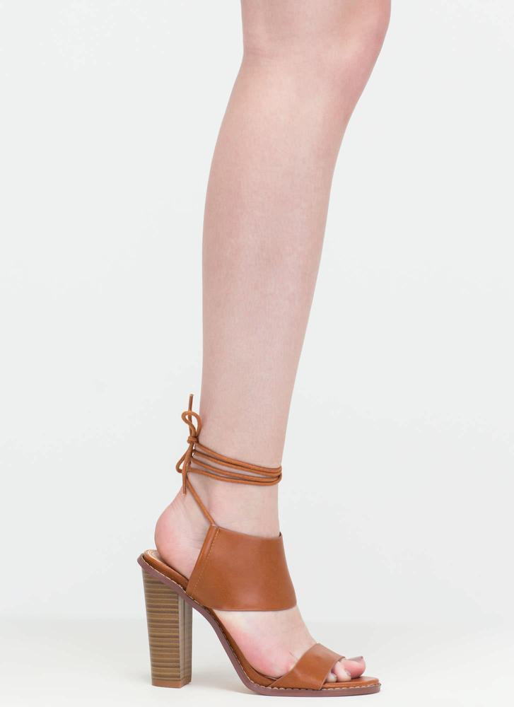 New Junction Faux Leather Chunky Heels COGNAC (Final Sale)