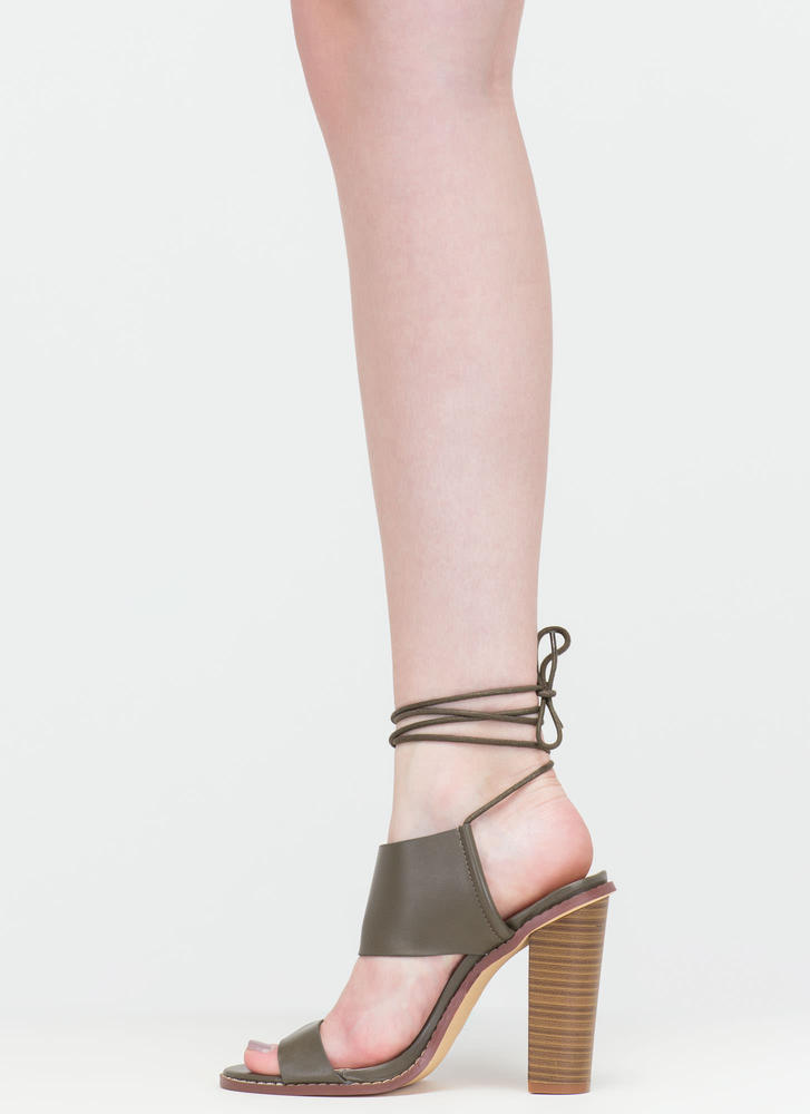 New Junction Faux Leather Chunky Heels OLIVE (Final Sale)