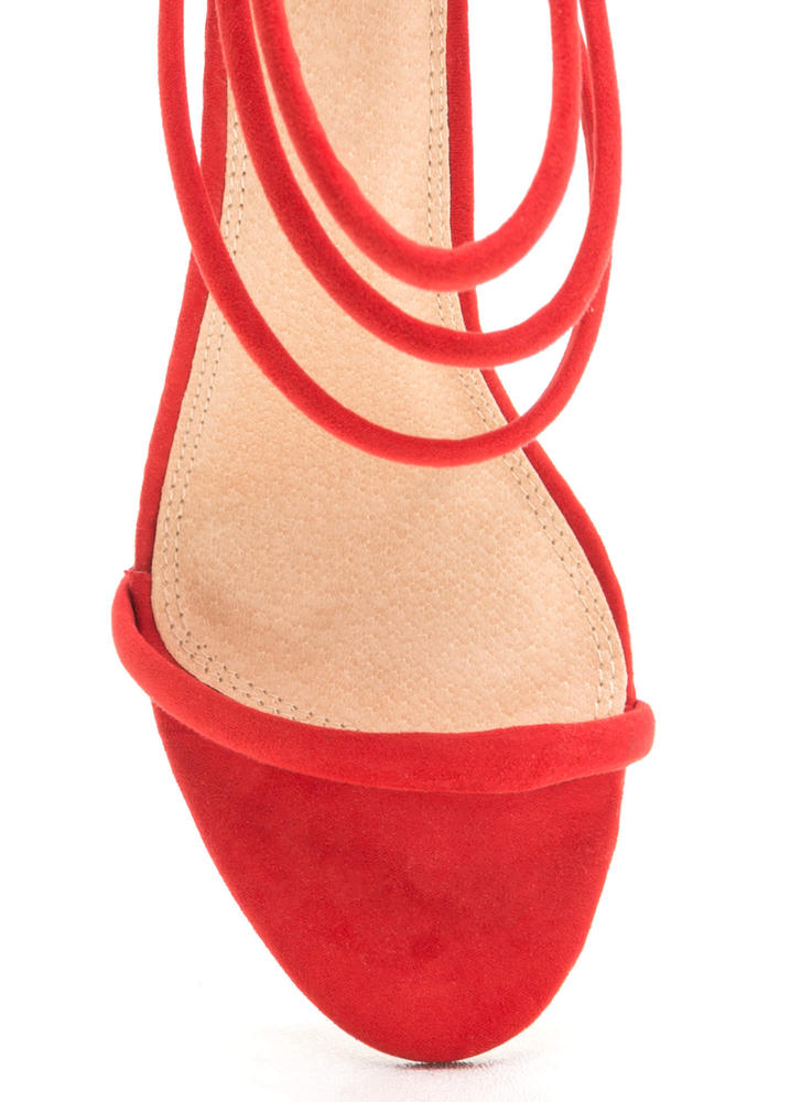 Total Triple Threat Strappy Heels RED
