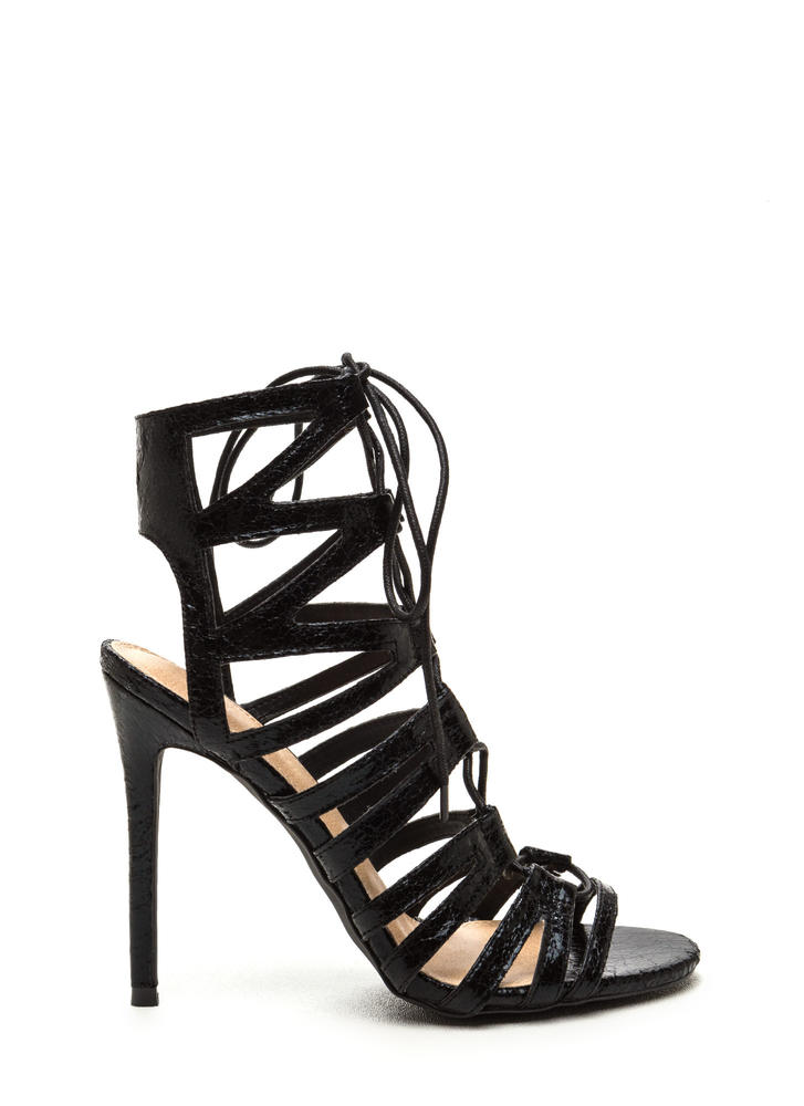 New Event Faux Patent Lace-Up Heels BLACK