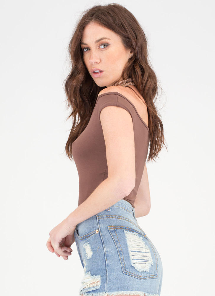 Shrug It Off-The-Shoulder Bodysuit BROWN