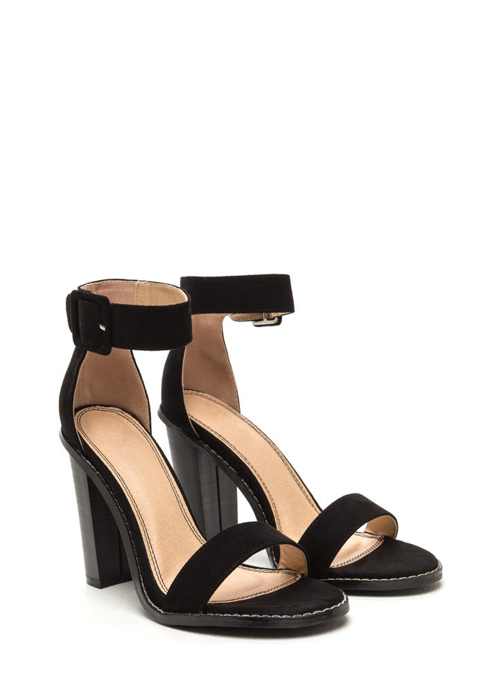 Single Strap Minded Faux Suede Heels BLACK