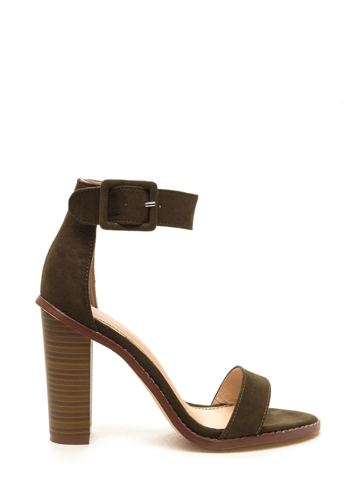 Single Strap Minded Faux Suede Heels