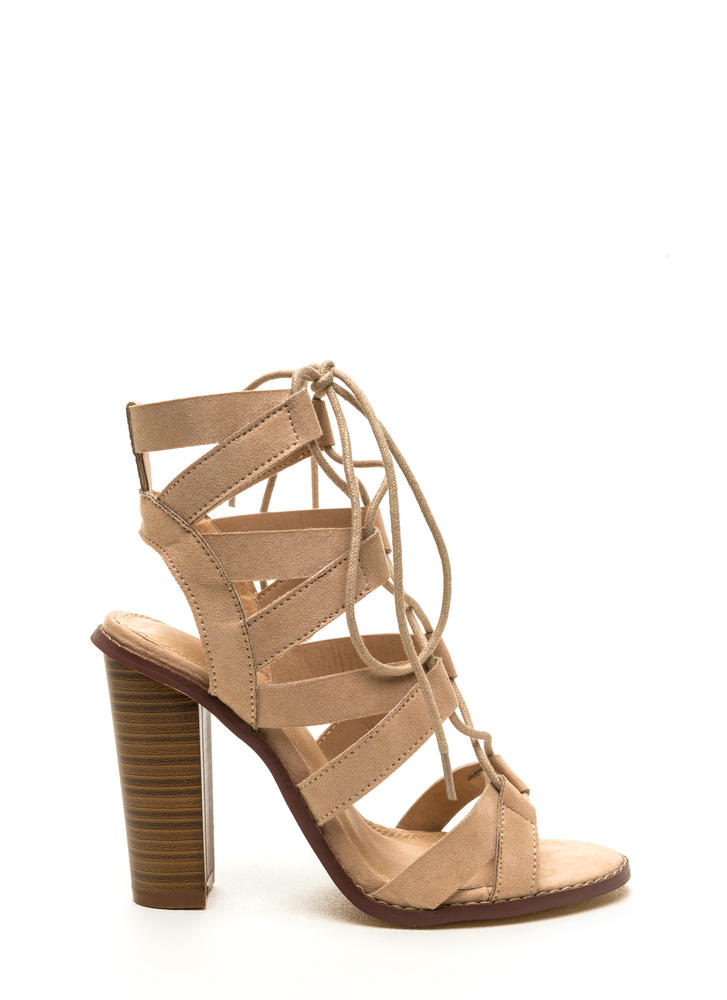 Born To V Lace-Up Heels NUDE