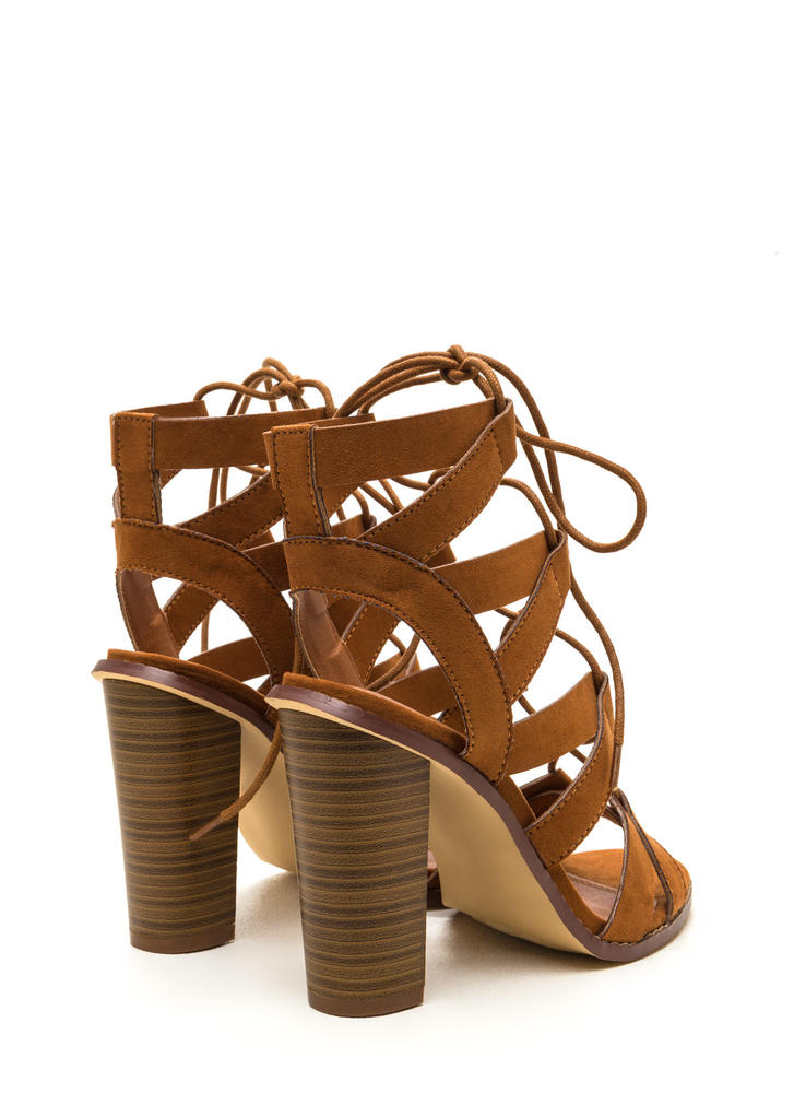 Born To V Lace-Up Heels TAN