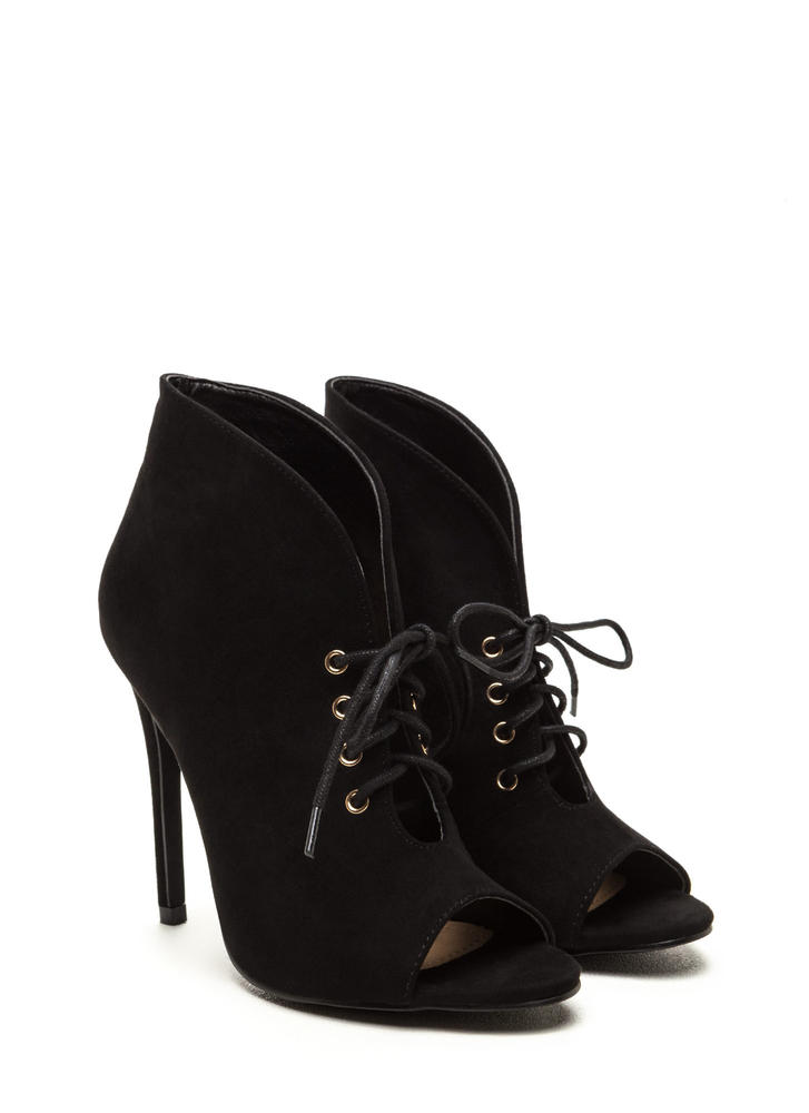Take A Plunge Lace-Up Faux Suede Booties BLACK