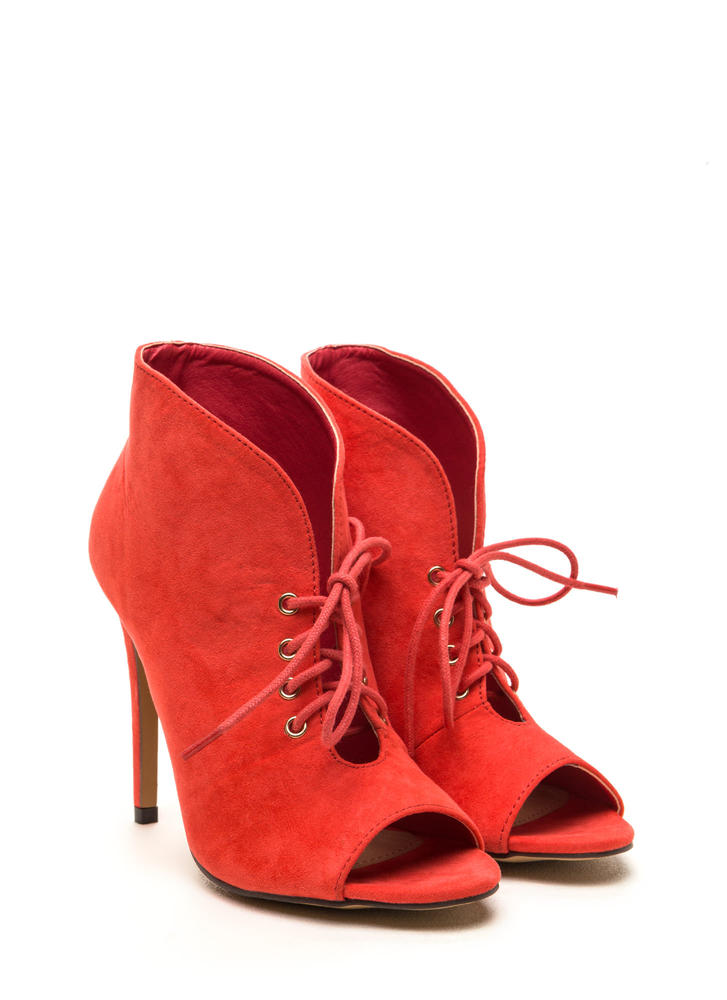Take A Plunge Lace-Up Faux Suede Booties CORAL