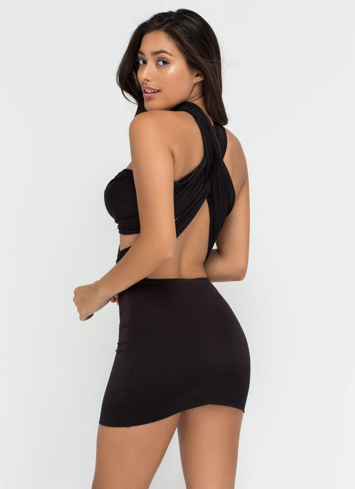Have It My Way Convertible Minidress BLACK