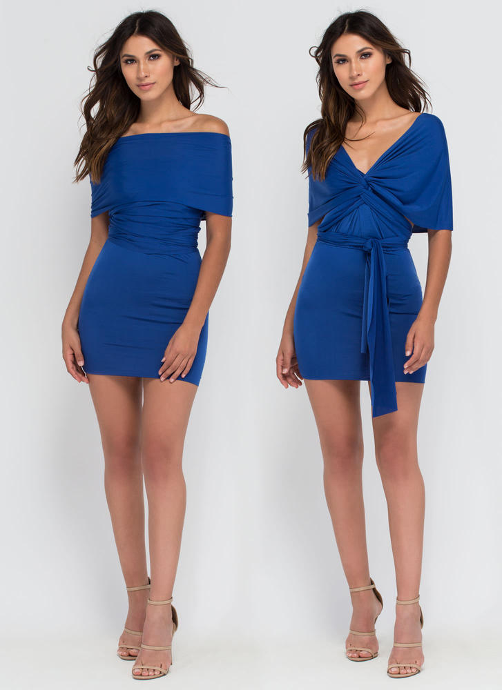Have It My Way Convertible Minidress ROYAL