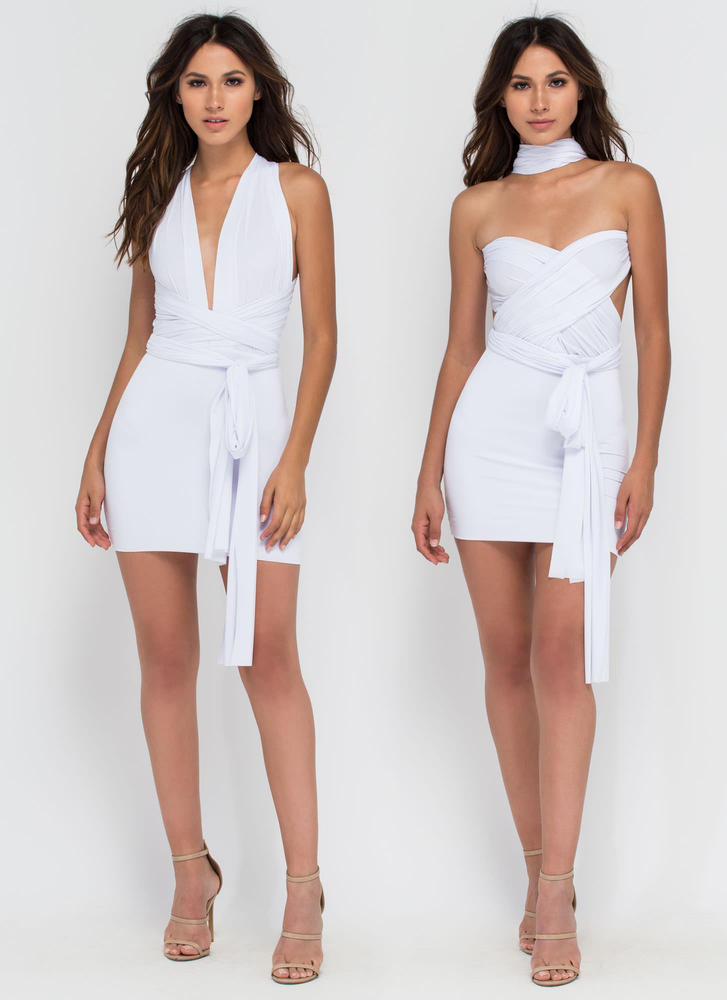 Have It My Way Convertible Minidress WHITE
