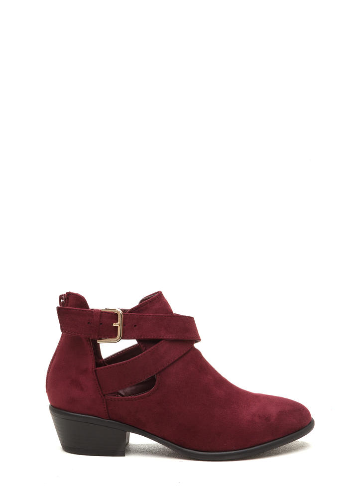 All Day Slay Faux Suede Cut-Out Booties
