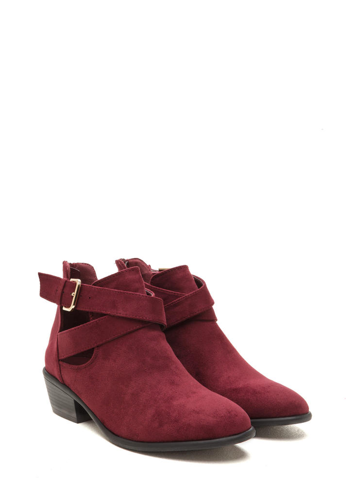 All Day Slay Faux Suede Cut-Out Booties BURGUNDY