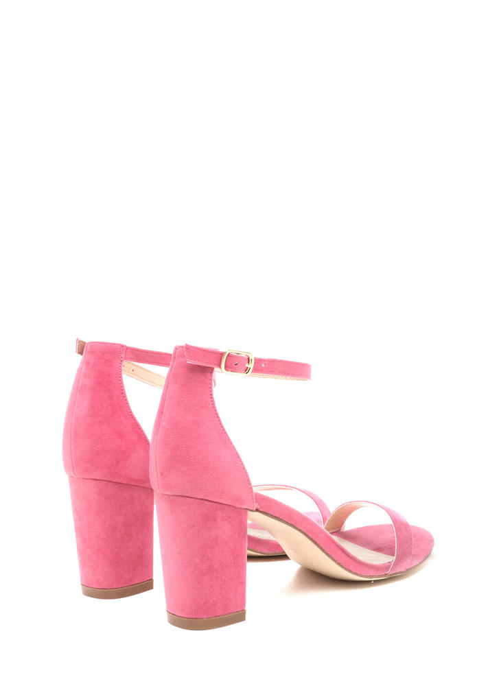 Weekend Outing Faux Suede Chunky Heels CORAL