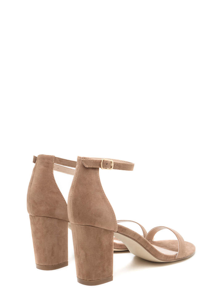 Weekend Outing Faux Suede Chunky Heels TAUPE