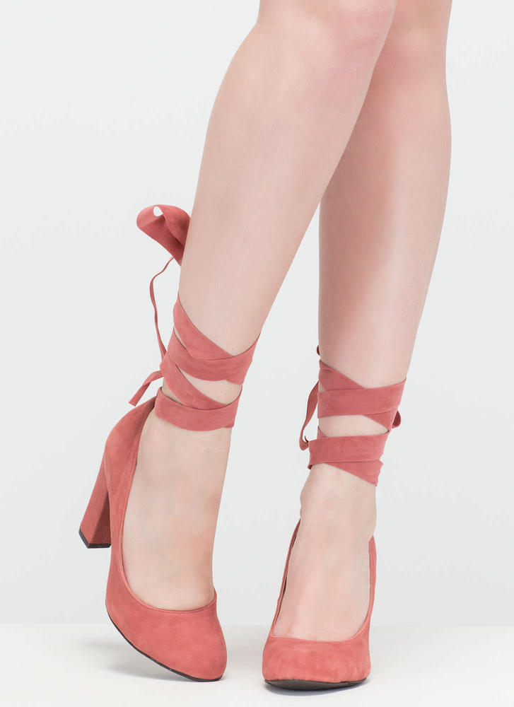 Wrap Genius Faux Suede Chunky Heels MAUVE (Final Sale)