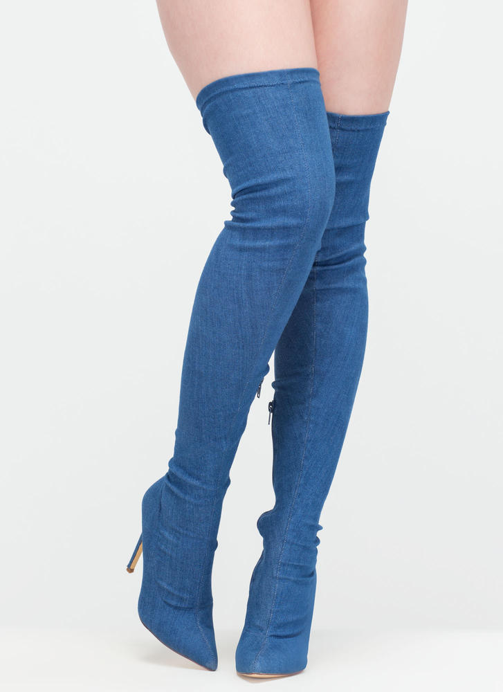 Long Story Chic Thigh-High Boots DENIM