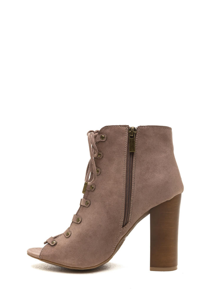 Style Blog Worthy Lace-Up Booties TAUPE (Final Sale)