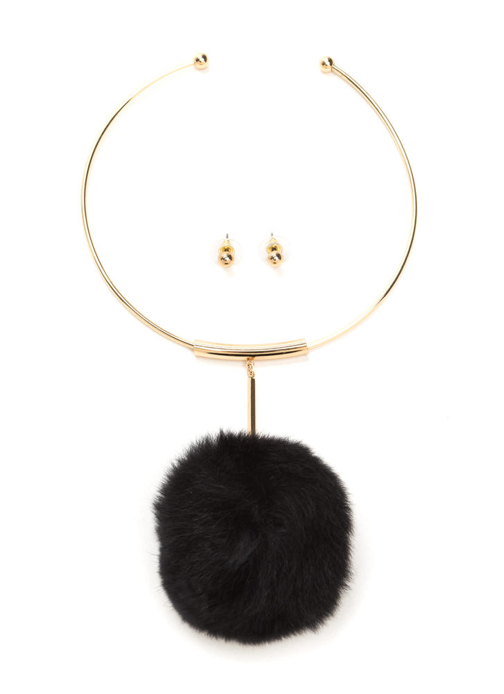 All Faux Fur It Pom-Pom Necklace Set BLACK