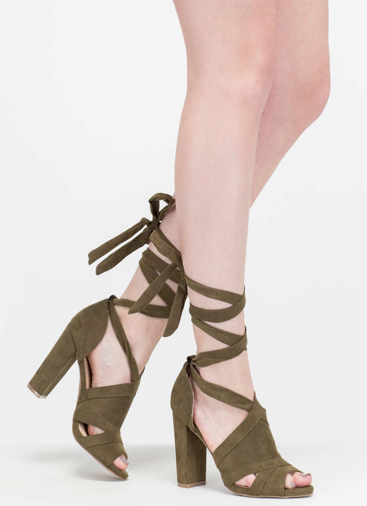 Totally To Tie For Lace-Up Chunky Heels NATURAL BLACK OLIVE ...