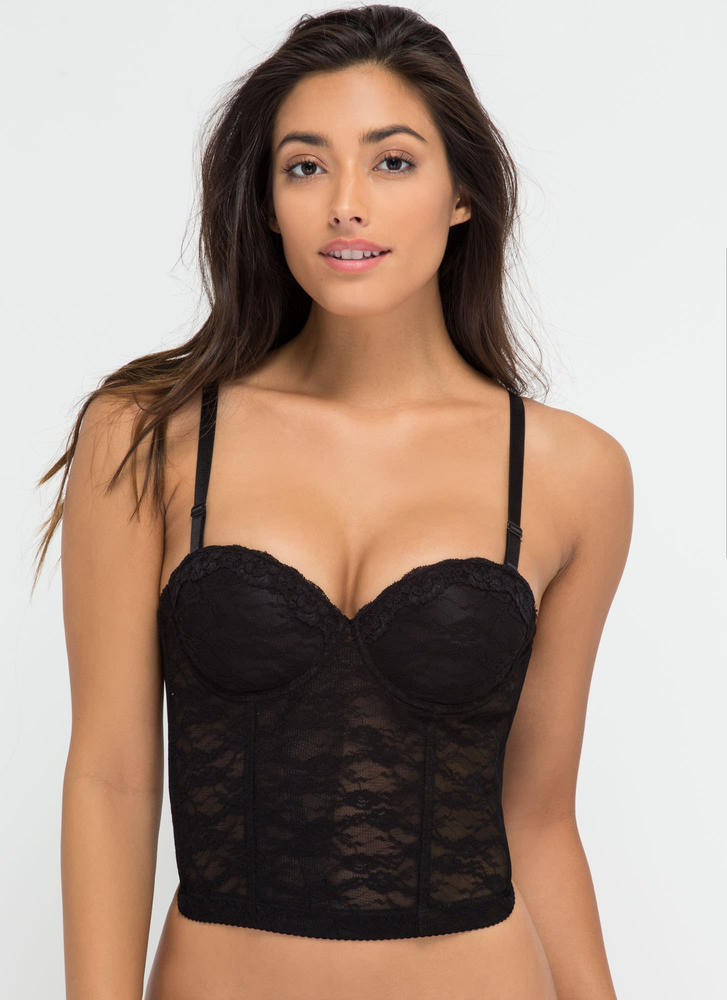 Bedroom Eyes Lace Push-Up Corset Bra