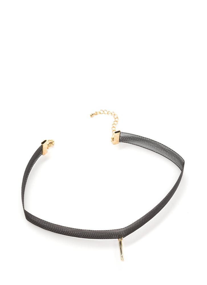 Keepin' It Mesh Bar Charm Choker BLACK