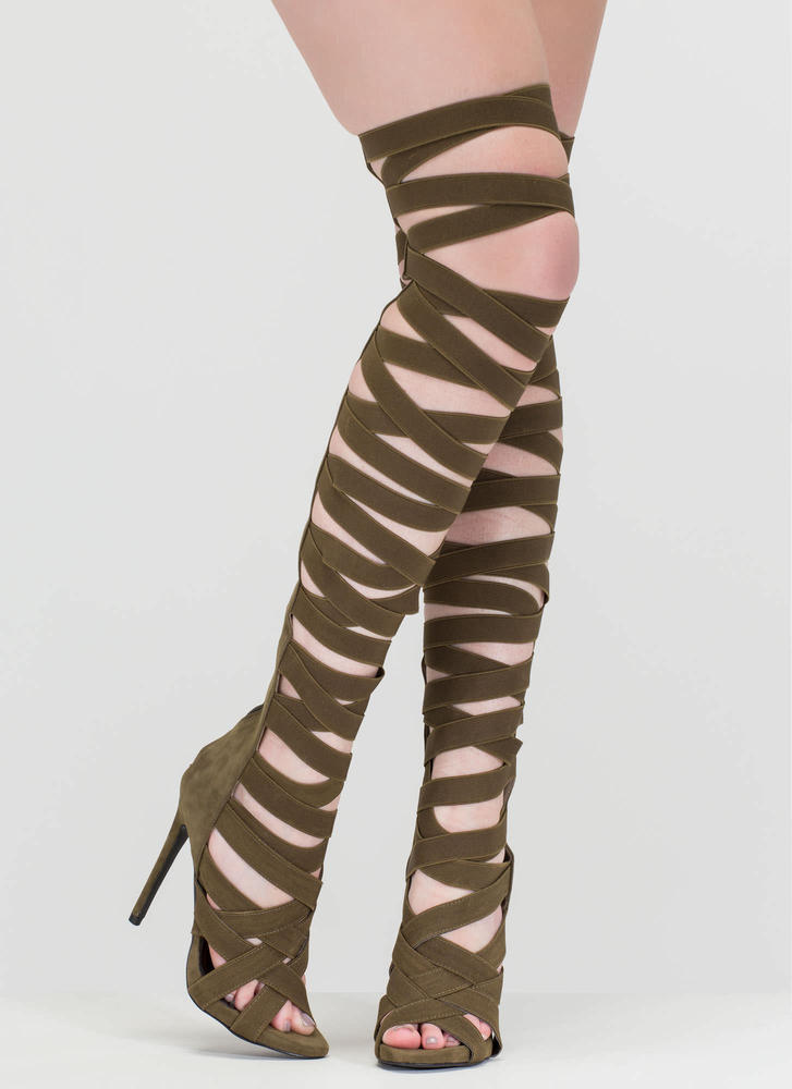 X's And Oohs Gladiator Heels OLIVE (Final Sale)
