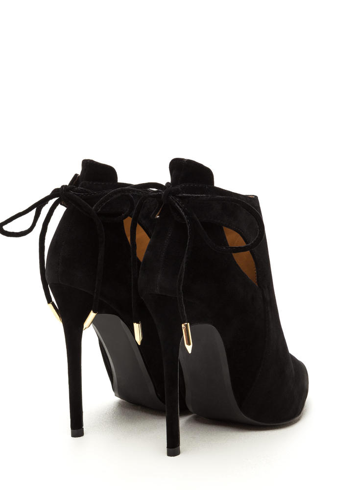 Brownie Points Faux Suede Booties BLACK