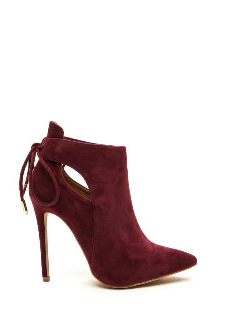 Brownie Points Faux Suede Booties WINE (Final Sale)