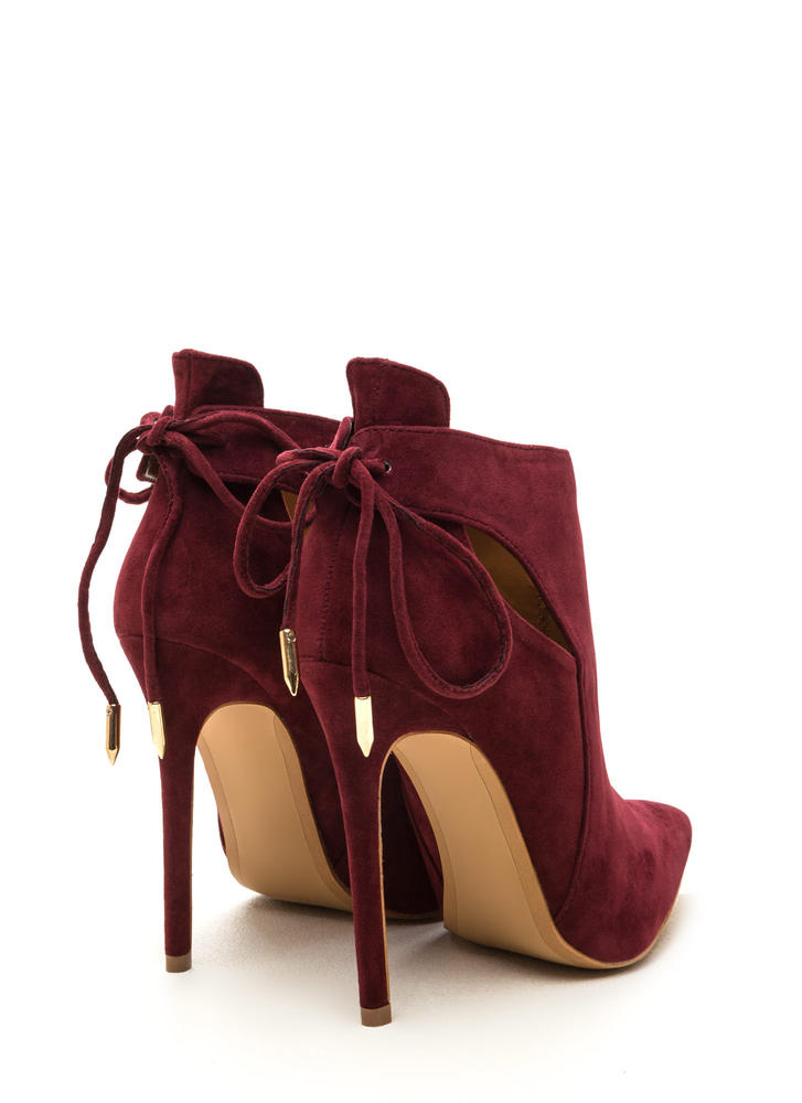 Brownie Points Faux Suede Booties WINE