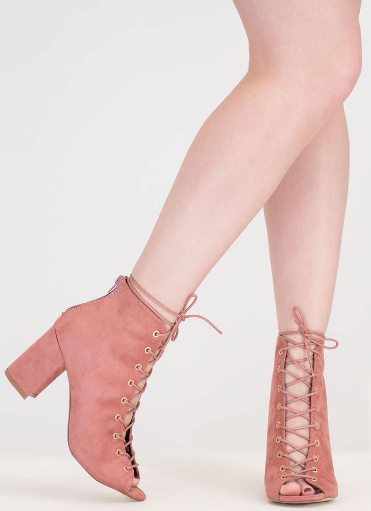 Set To Launch Faux Suede Lace-Up Booties BLUSH (Final Sale)