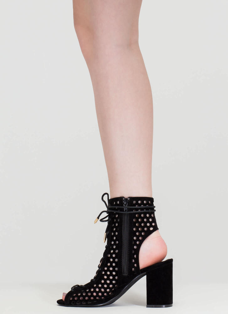 Holey One Perforated Faux Suede Booties BLACK