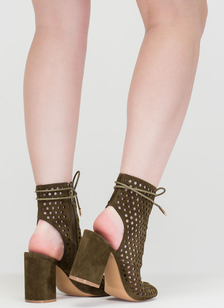 Holey One Perforated Faux Suede Booties OLIVE
