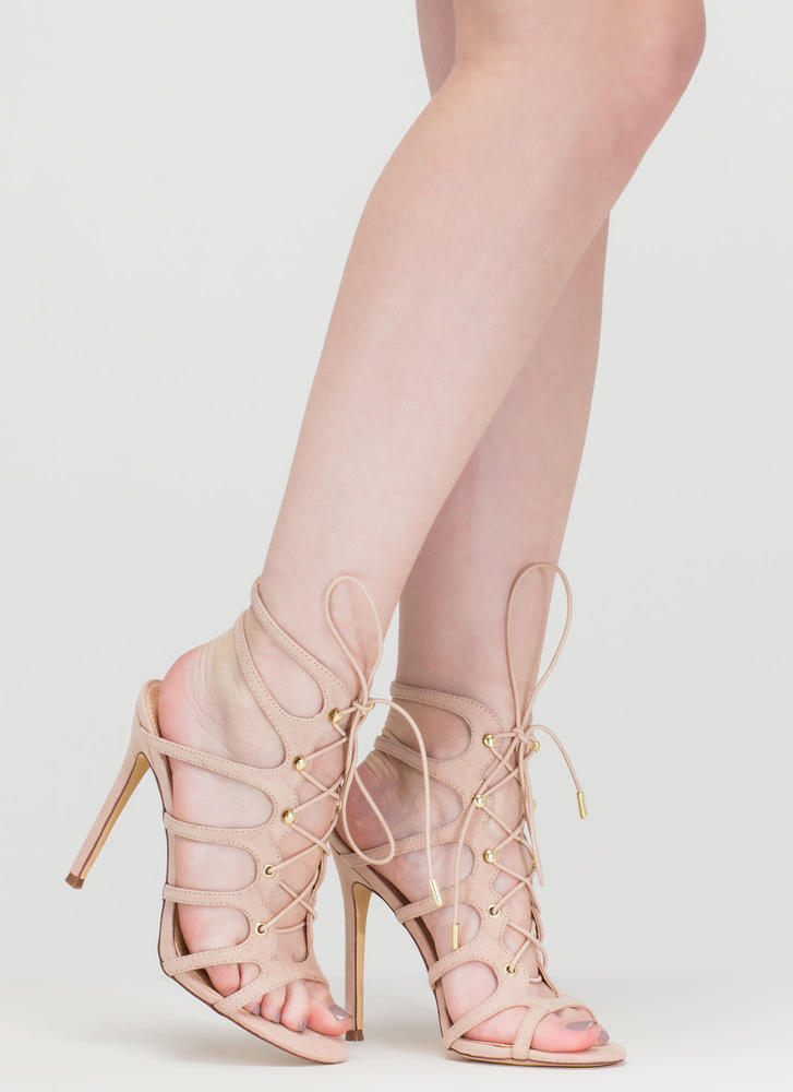 Lace 'Em Up Faux Suede Heels NUDE