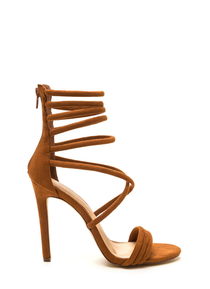 Get In Formation Faux Suede Heels TAN