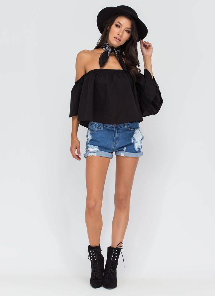 Shrug It Off-Shoulder Ruffled Top BLACK