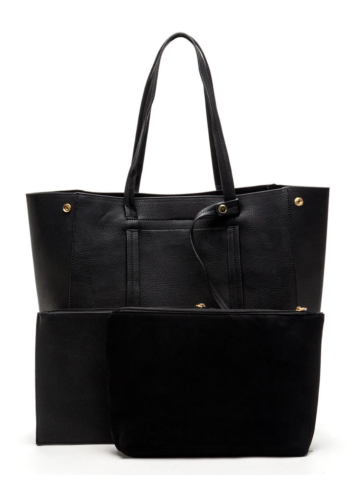 Bag Lady Faux Leather Tote BLACK