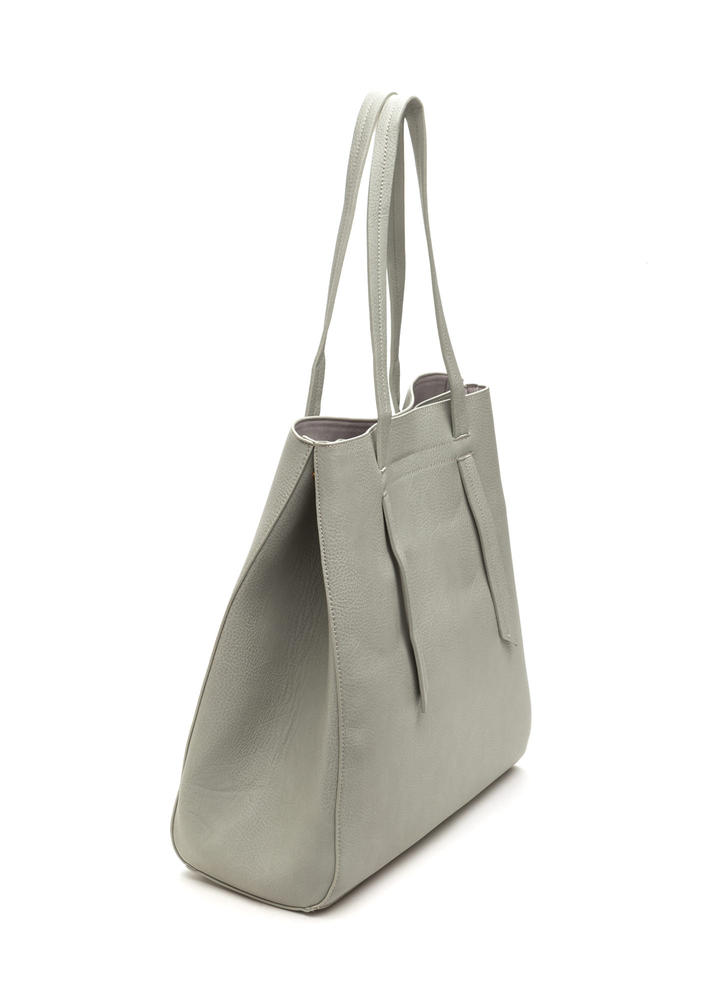 Bag Lady Faux Leather Tote GREY