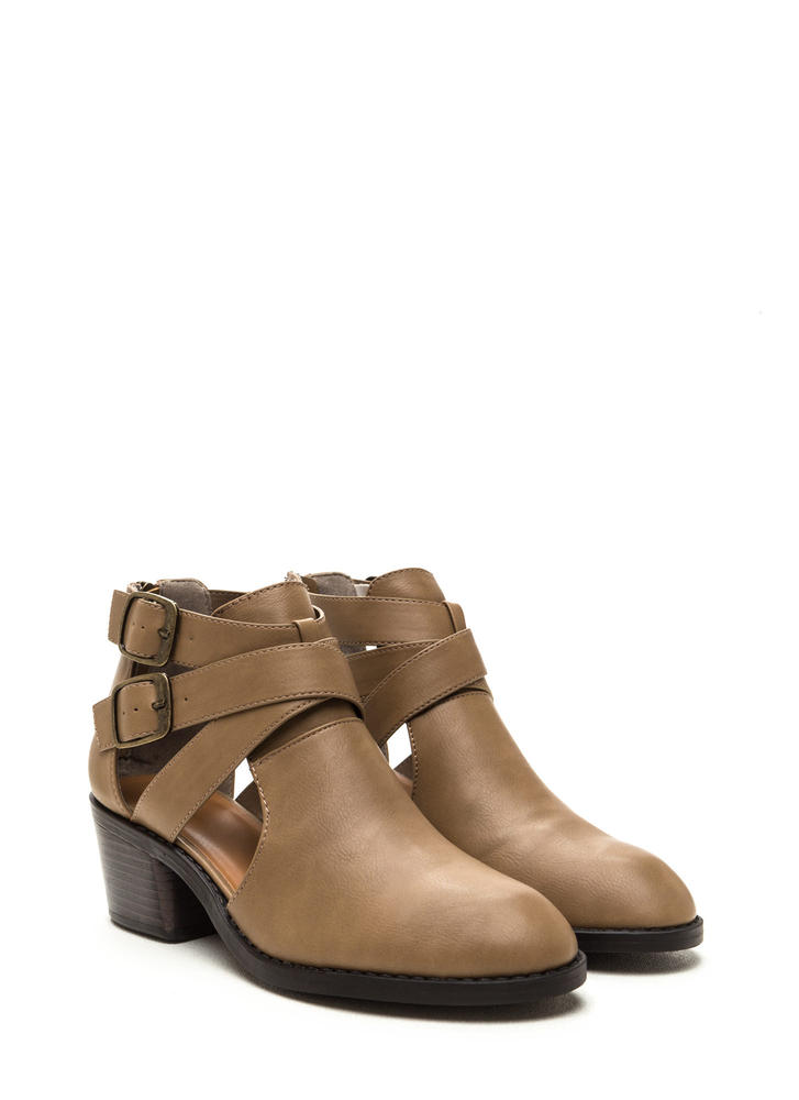 Western Hemisphere Faux Leather Booties TAUPE
