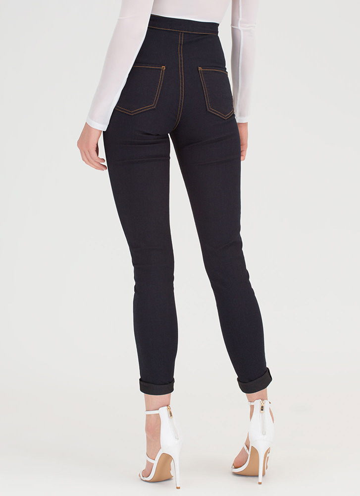 Hourglass Figure High-Waisted Jeans INDIGO