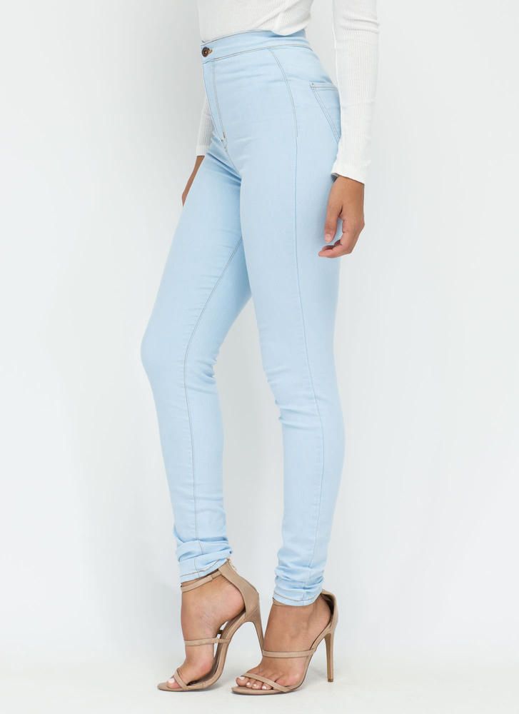 Hourglass Figure High-Waisted Jeans LTBLUE