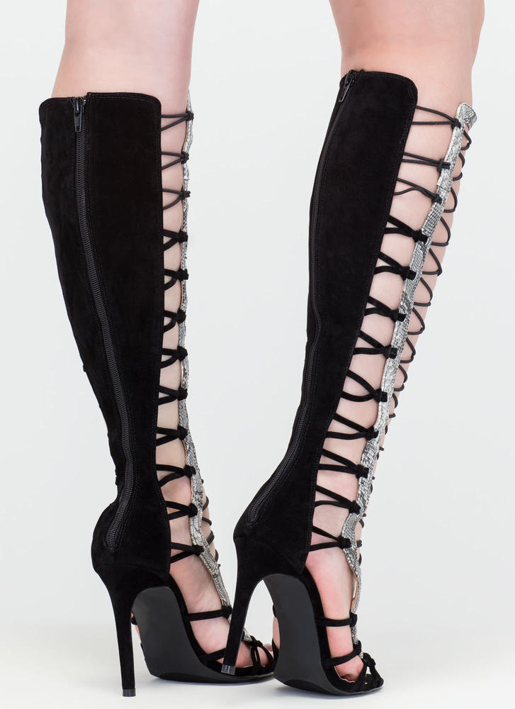 Knot Your Average Gladiator Heels BLACK